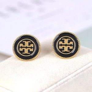 Tory Burch Black Lacquered Logo Gold Stud Earrings